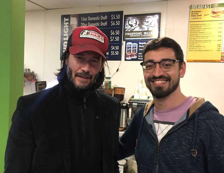 Keanu stranded with the bus people after emergency plane landing