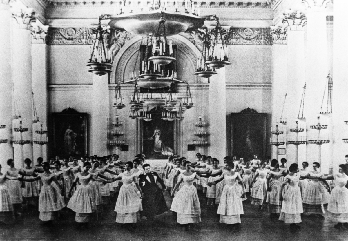A ballroom dance class at the smolny institute for noble maidens, russia's first women's educational institution, st, petersburg, russia, late 19th century. (