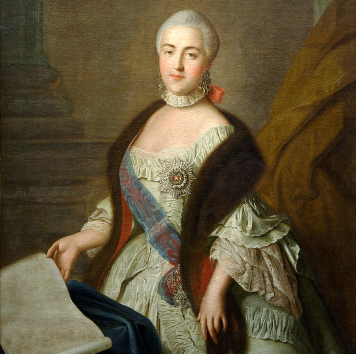 Catherine II as Grand Duchess Ekaterina Alekseyevna', 1762. Argunov, Ivan Petrovich (1729-1802). Found in the collection of the State Museum of Ceramics and Country estate of 18th cen. Kuskovo, Moscow.