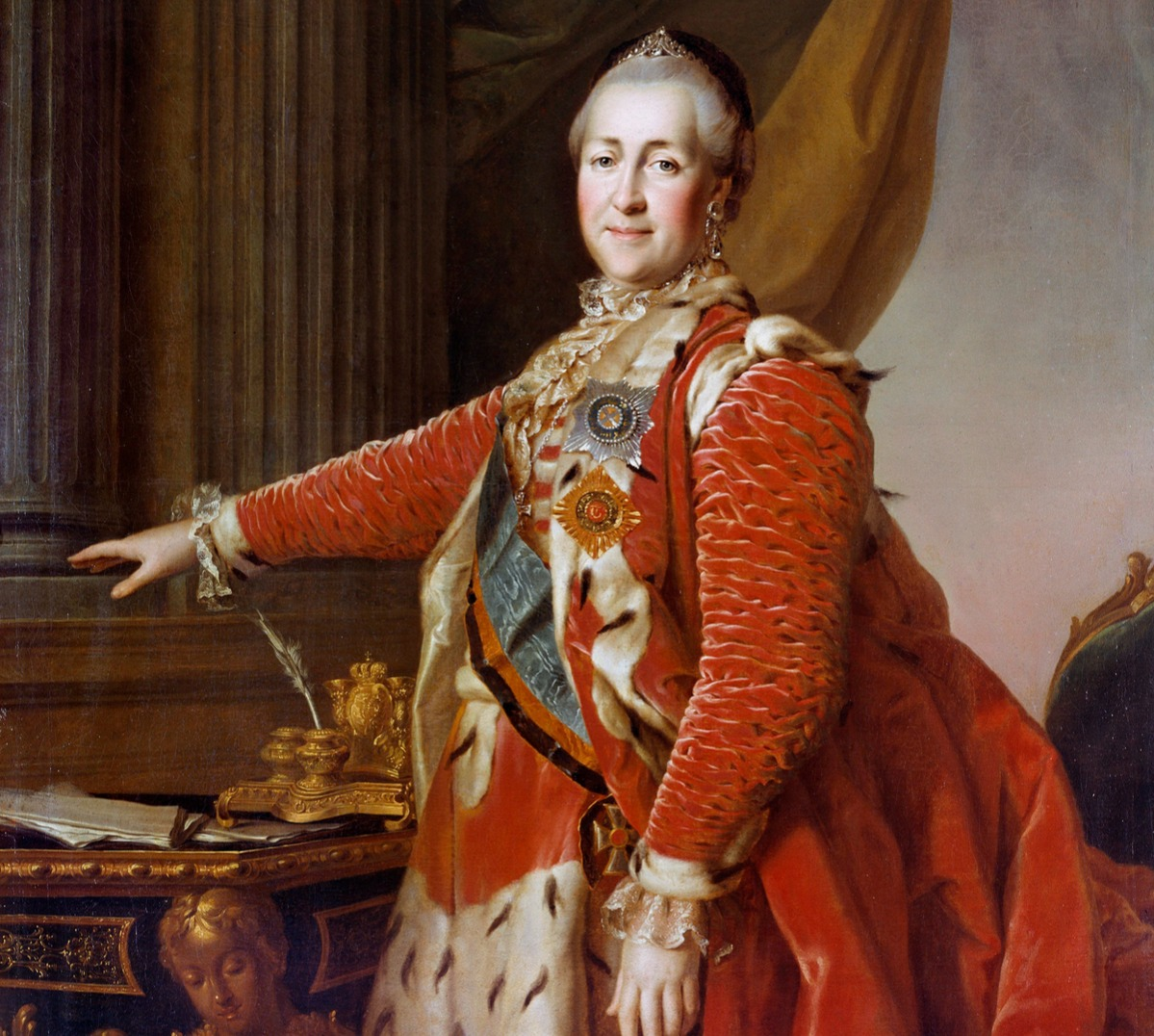 Portrait of the Empress Catherine II of Russia (1729-1796) in red ceremonial dress. Painting by Dimitri Levitzky