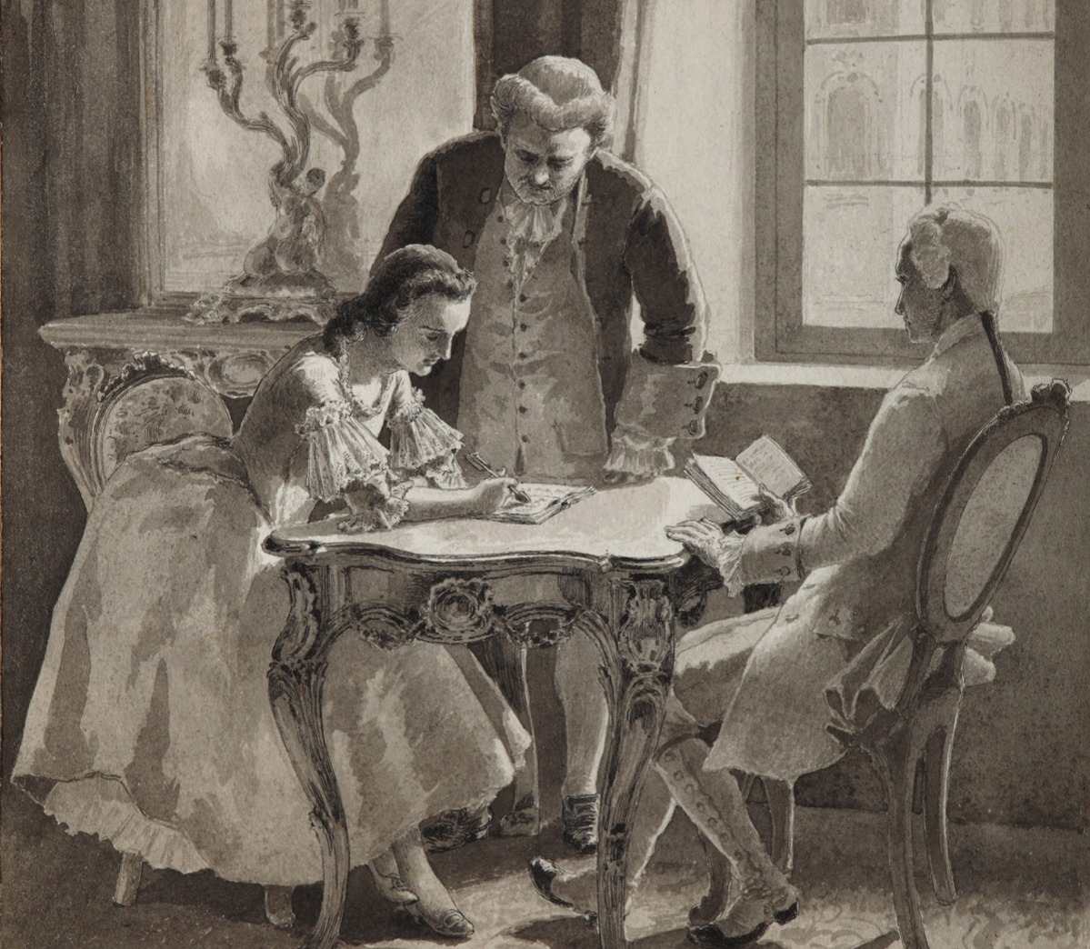 Russian language lesson of Empress Catherine II, 1894. Found in the collection of State Central Literary Museum, Moscow. Artist : Klodt, Mikhail Petrovich, Baron (1835-1914).
