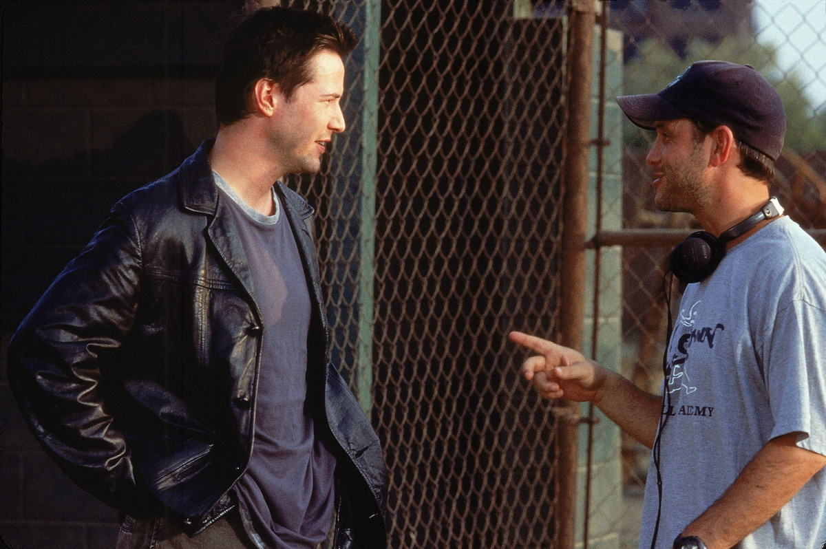 Keanu on Set of Hardball with director Brian Robbins