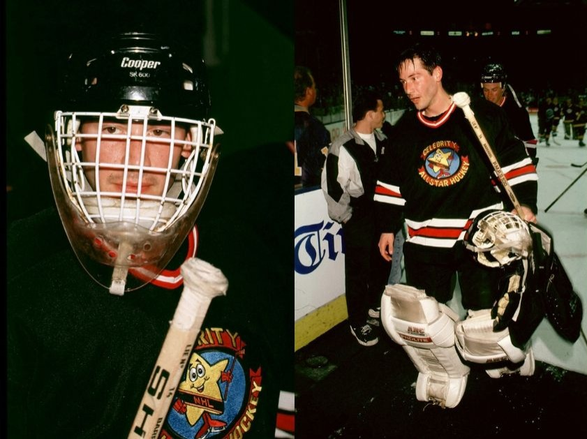 Keanu playing ice hockey in celebrity tournament