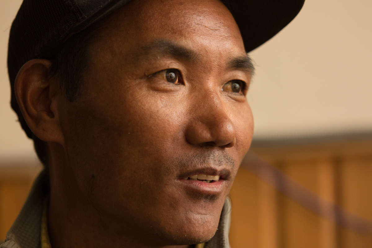 Kami Rita Sherpa is pictured during an interview as he talks about his attempt to summit Mount Everest for the 22nd time