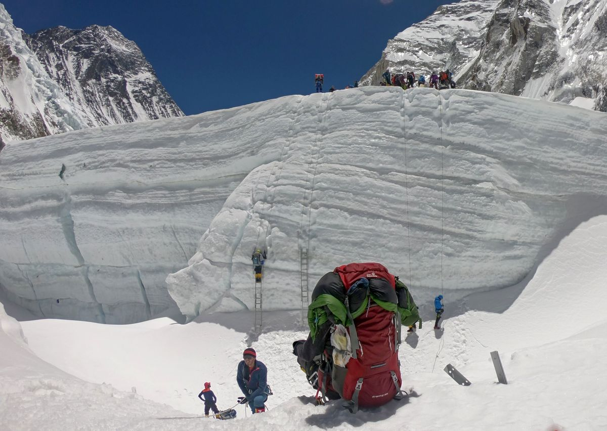 Lines of ladders are seen on the face of Mount Everest
