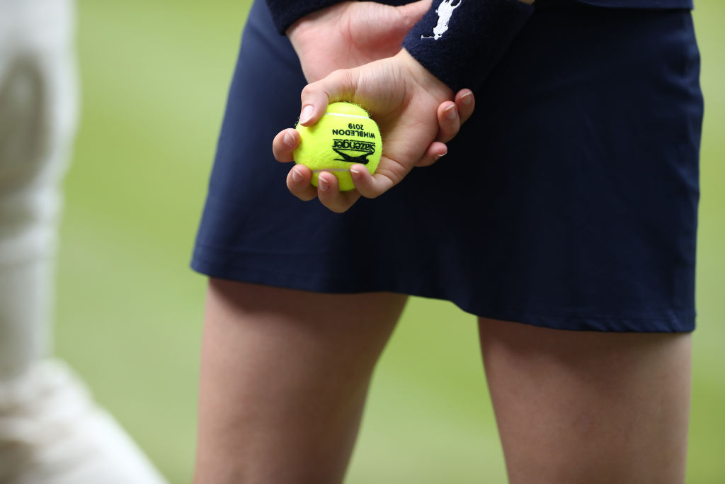 Ball girl holding a game ball during the ladies semi final singles match