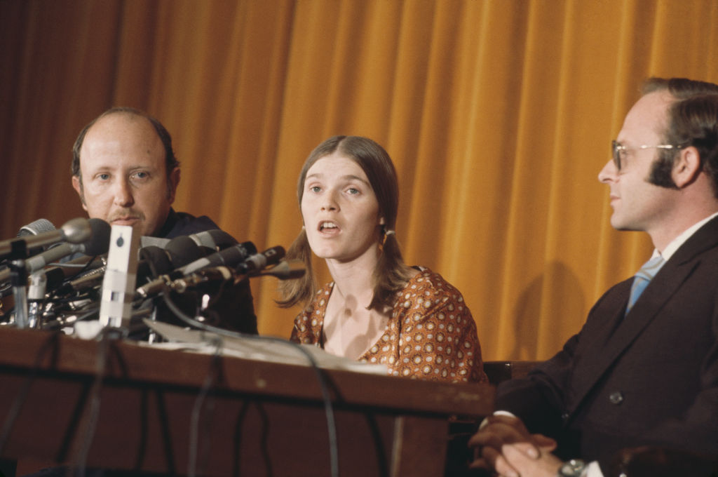 Manson family member Linda Kasabian, star witness in the Sharon Tate and LaBianca murder trial, at a press conference in Los Angeles, after being granted immunity from prosecution