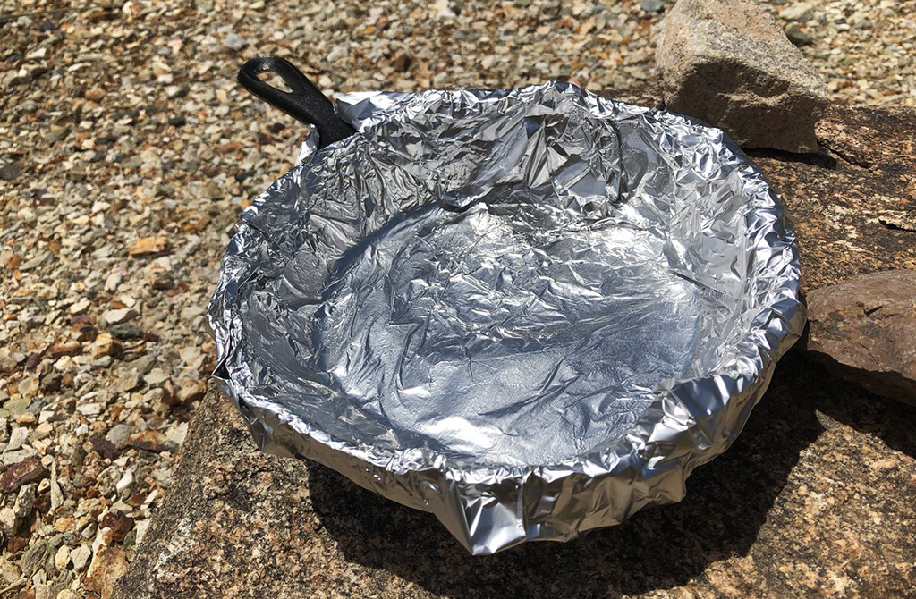 Skillet wrapped in aluminum foil