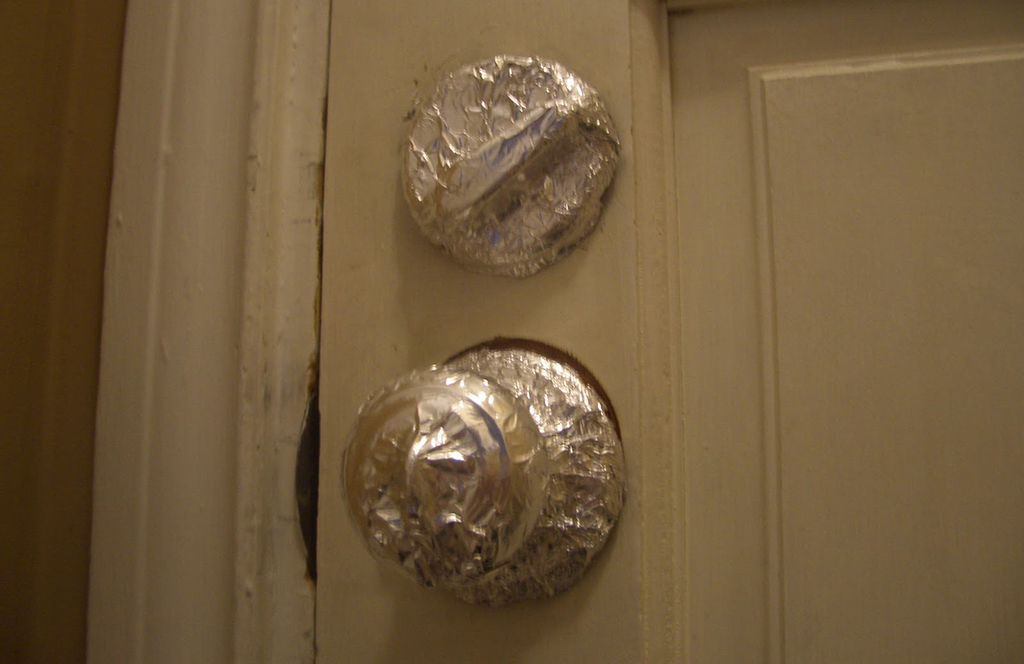 Knob and lock covered in foil