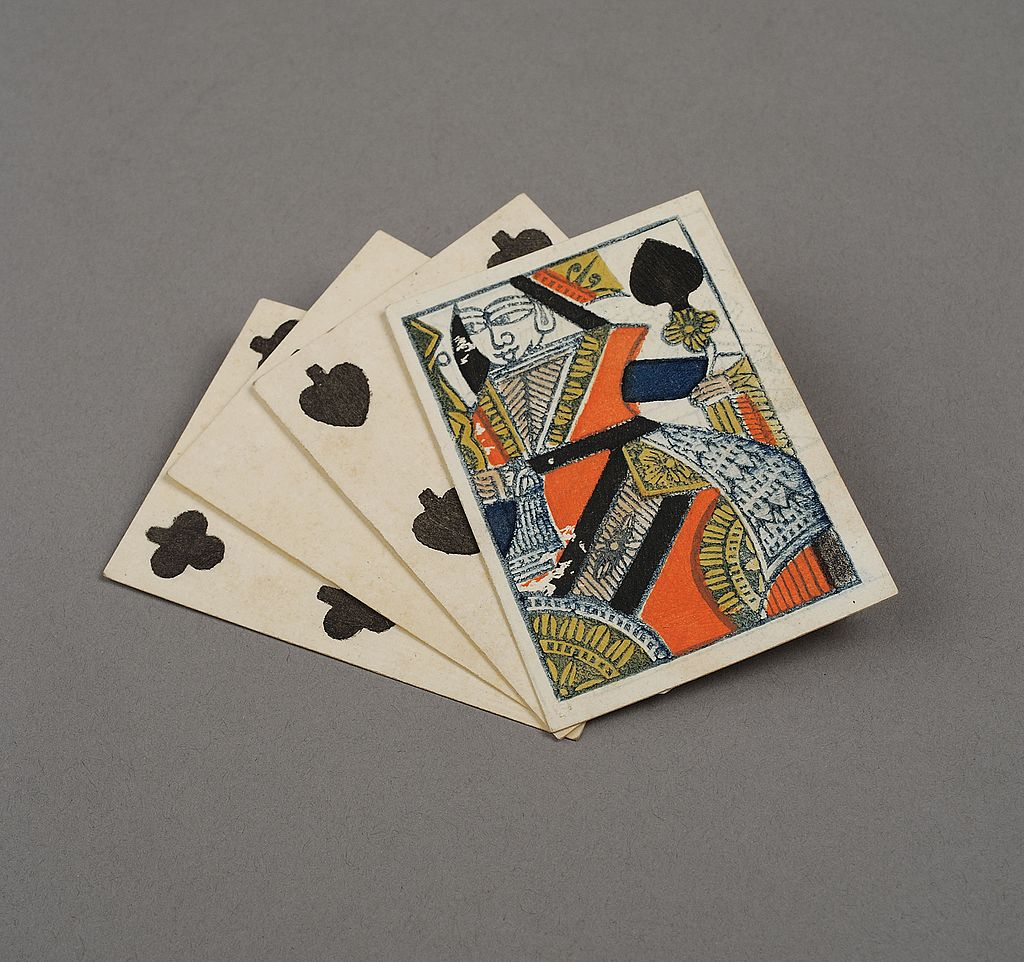 three playing cards from france