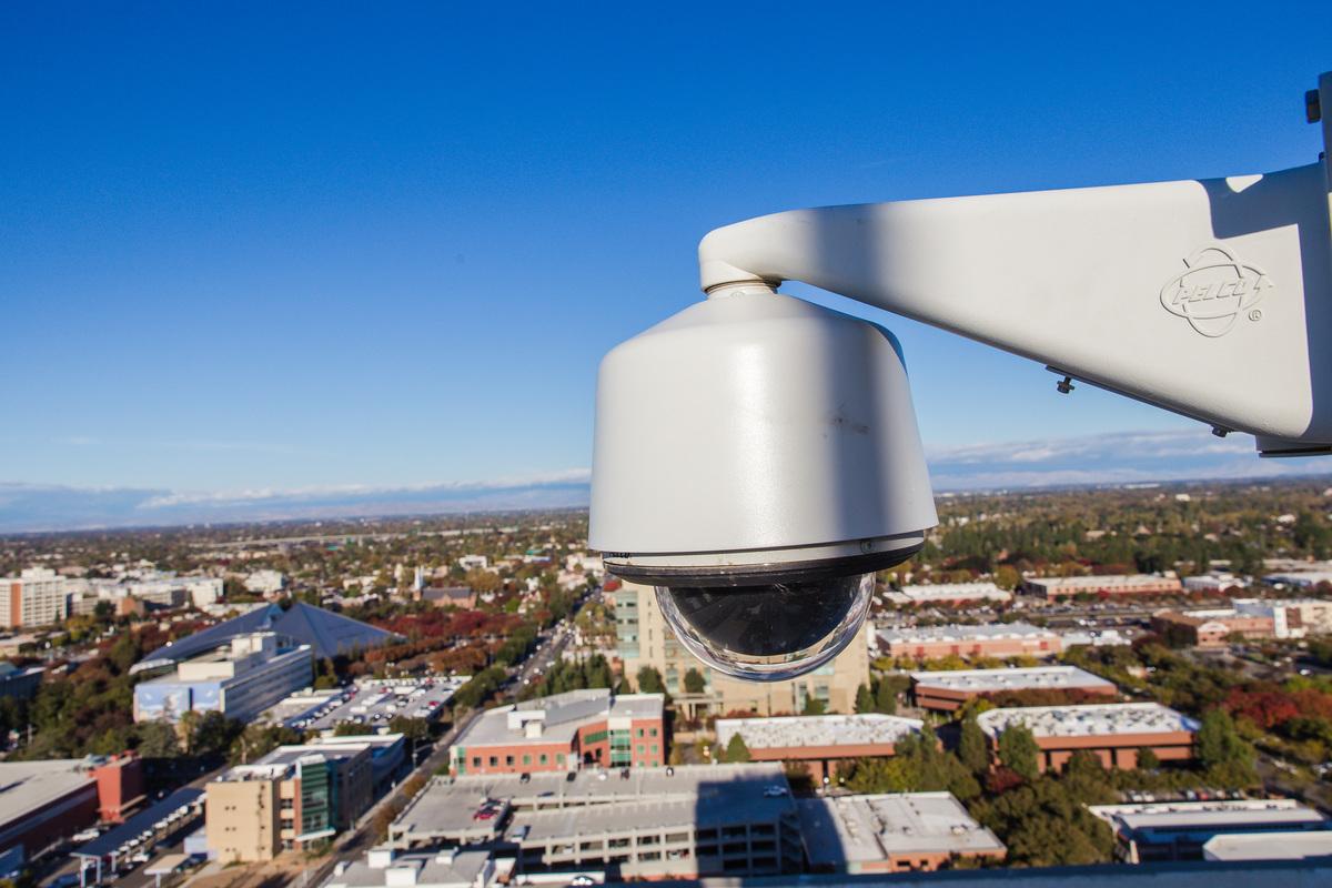 A security camera hovers over Fresno, California.