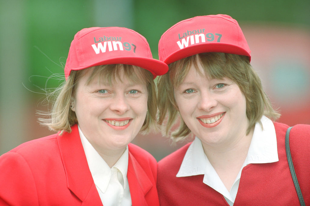 twins in red hats