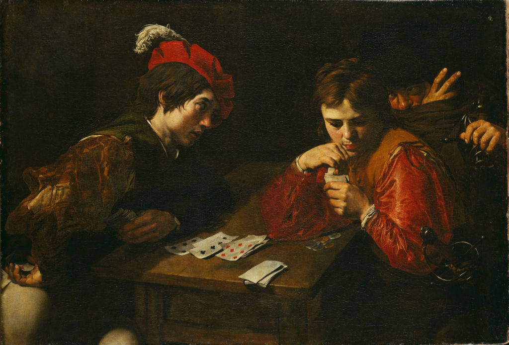 a painting of men playing cards