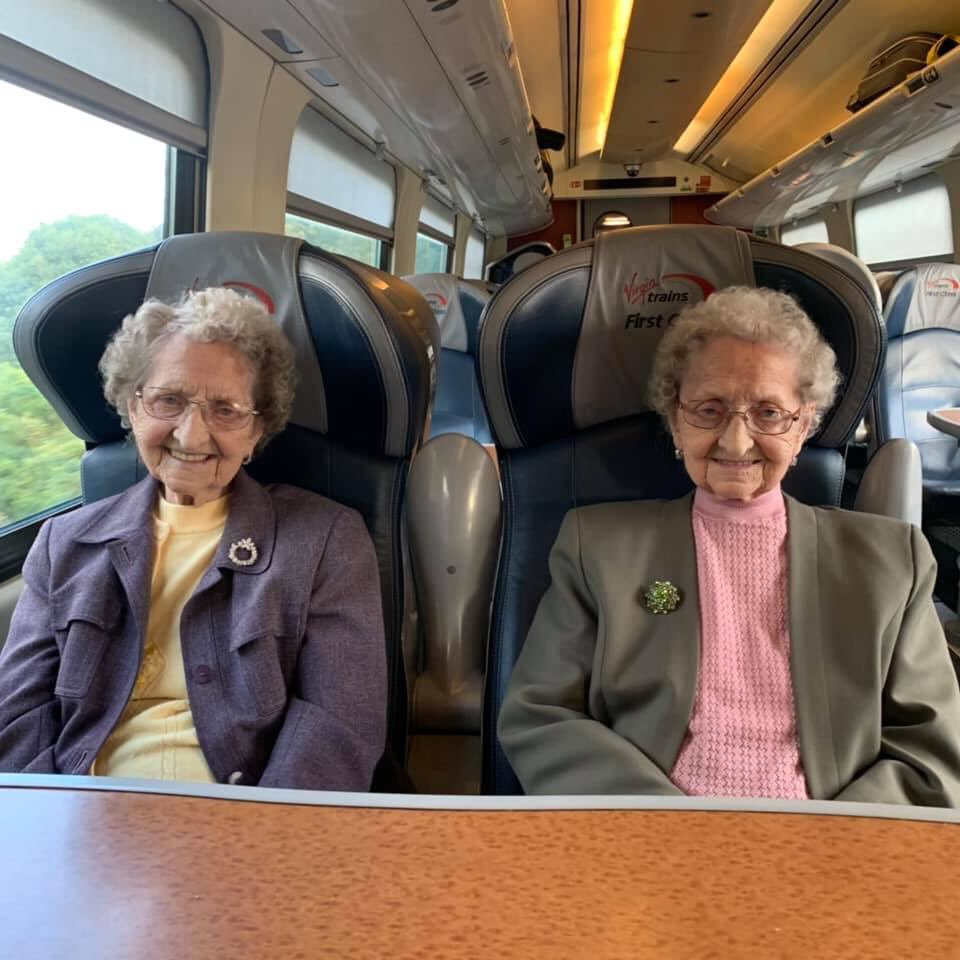 Tipton twins on a train