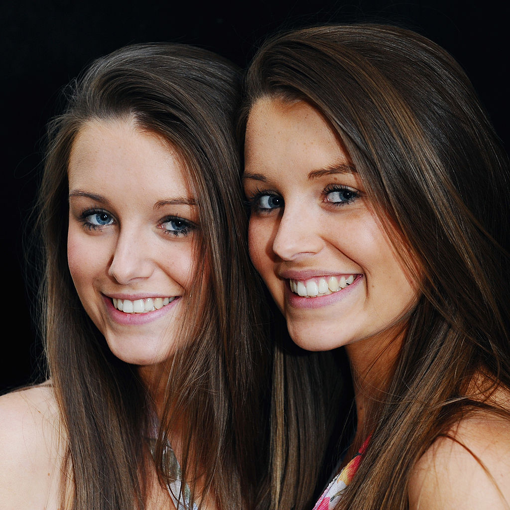 Pearl and Ruby Day pose after winning the Duo Wispa British Identical Twins competition