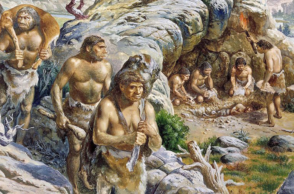 Painting of early humans socializing