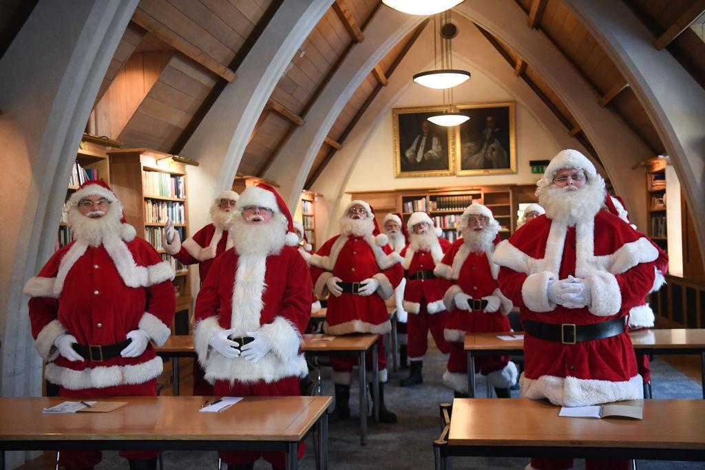 Santas in a classroom