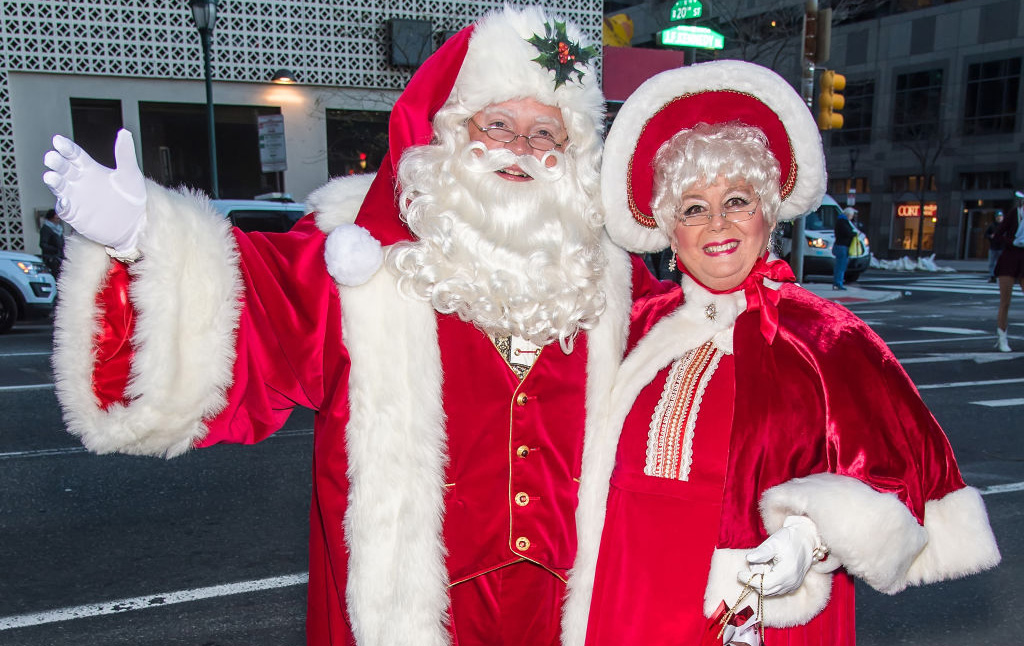 Couple dressed up as the Claus'