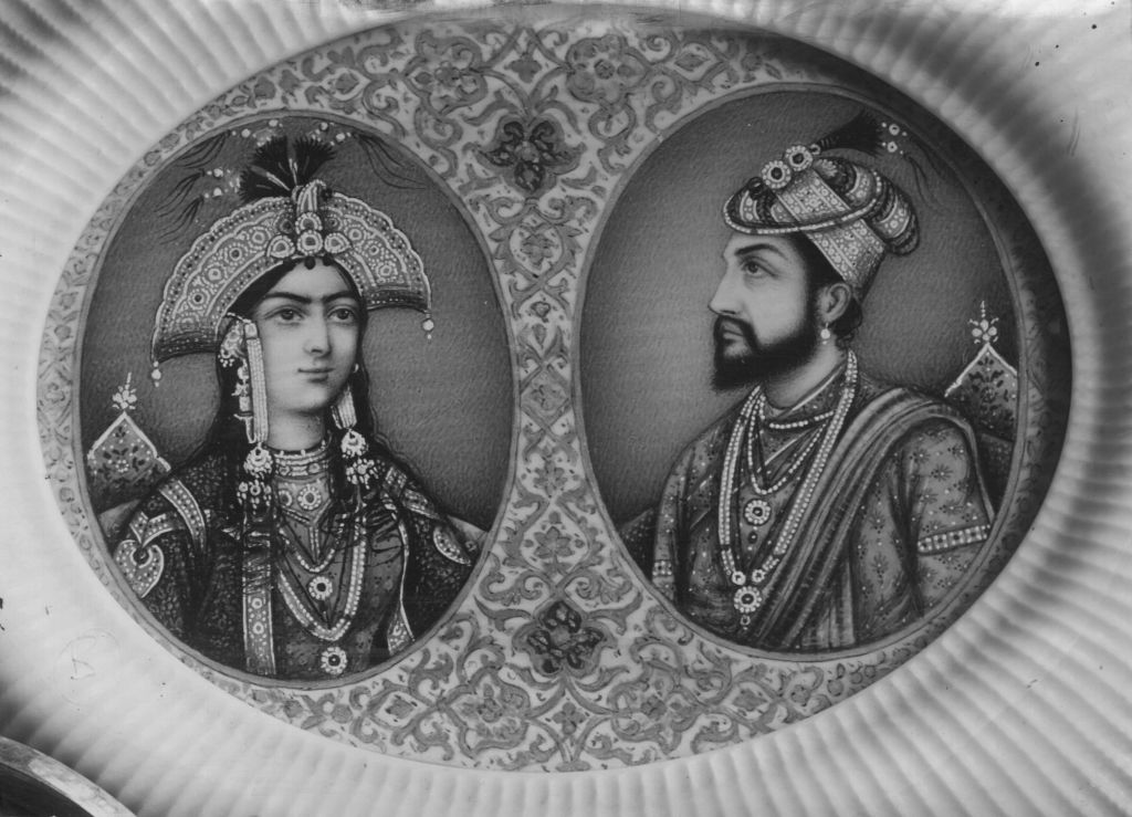 Indian Emperor Shah Jahan (1592 - 1666) with his wife Mumtaz Mahal
