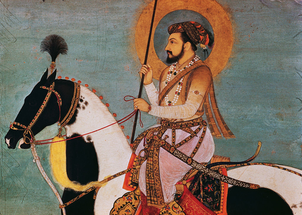 A leaf from the Shah Jahan Album showing Shah Jahan on horseback.