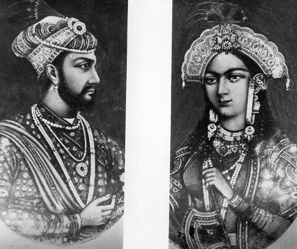 Circa 1640, Mogul Emperor Shah Jahan (1592 - 1666) and his wife Mumtaz Mahal in a split picture