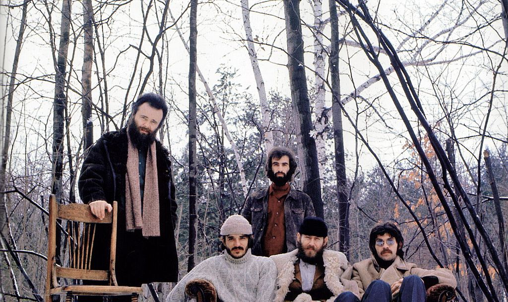 Garth Hudson, Rick Danko, Richard Manuel, Levon Helm, Robbie Robertson - posed, group shot of The Band