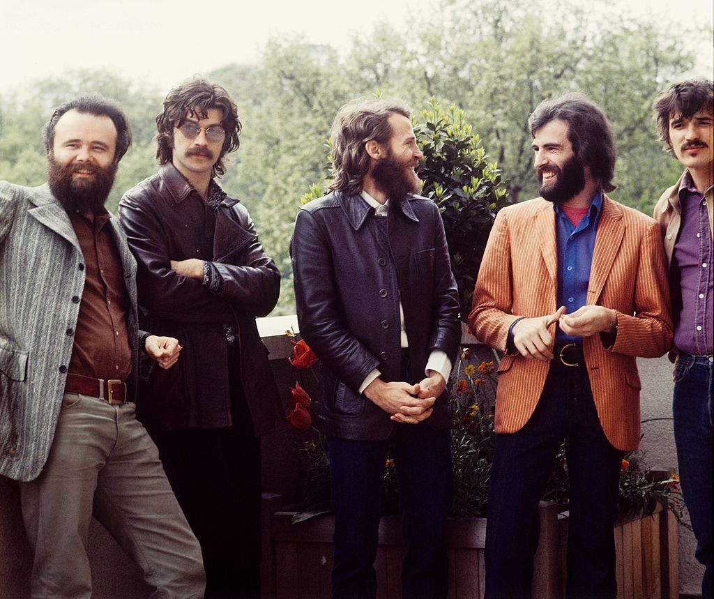 (L-R) Garth Hudson, Robbie Robertson, Levon Helm, Richard Manuel and Rick Danko of The Band pose for a group portrait