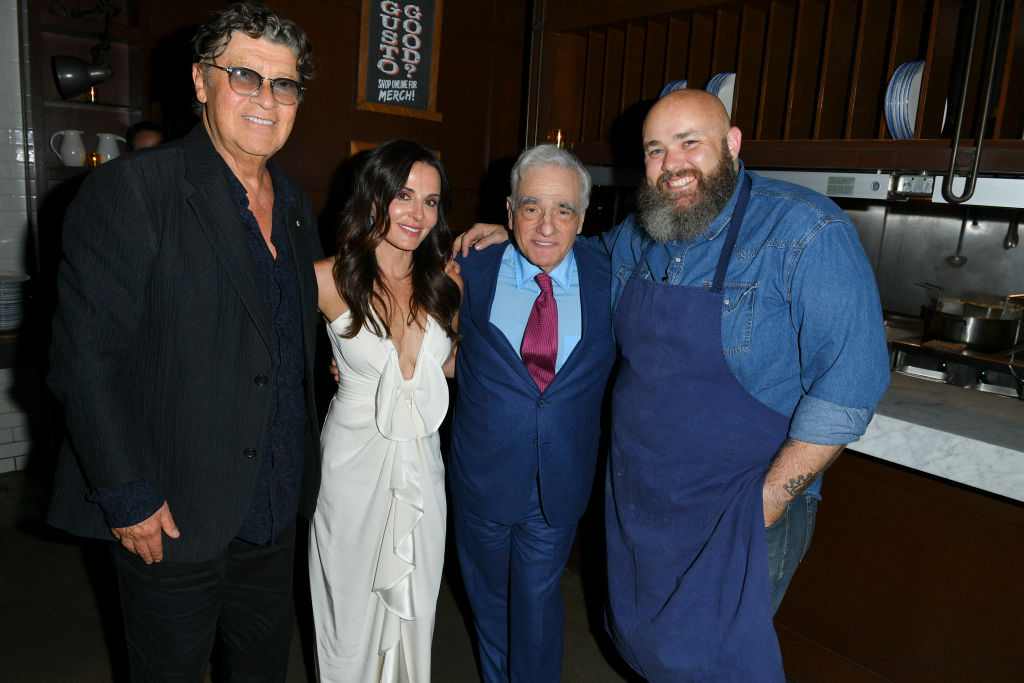 Robbie Robertson, Janet Zuccarini, Martin Scorsese and Chef Evan Funke pose for a photo