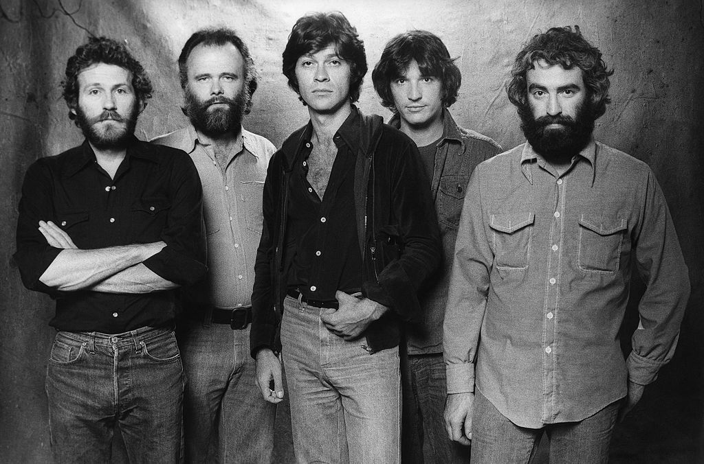 The Band (L-R Levon Helm, Garth Hudson, Robbie Robertson, Rick Danko and Richard Manuel) pose for a portrait