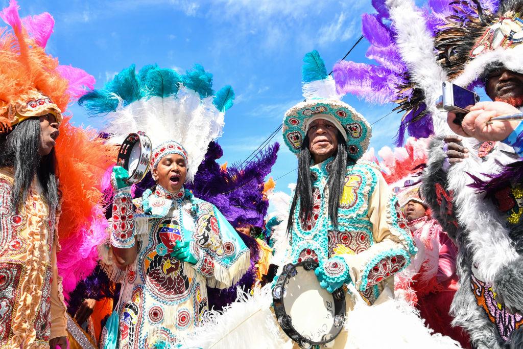 Mardi Gras revelers