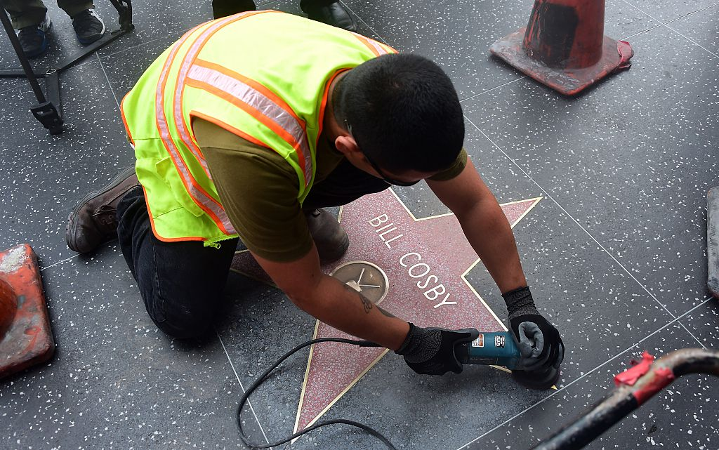 Work on Bill Cosby's star