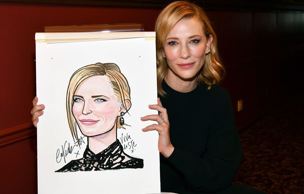 Cate Blanchett with caricature