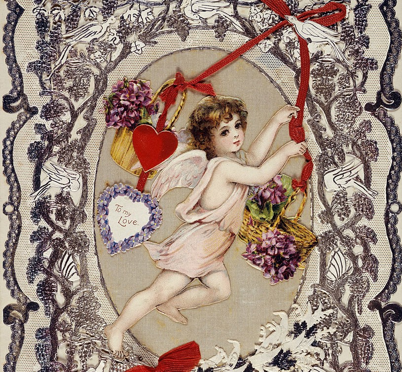 A picture shows a victorian Valentine's Day card.