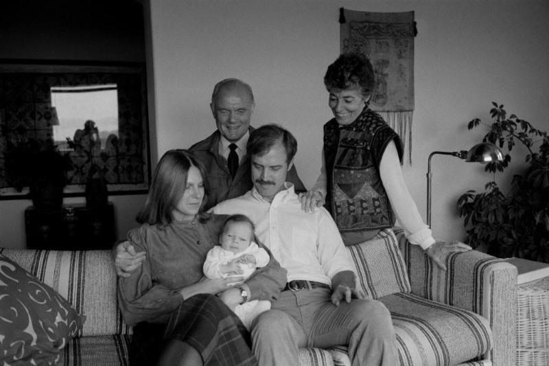 Senator John Glenn with his family, wife Annie, son David daughter-in-law Karen and his grandson Daniel.