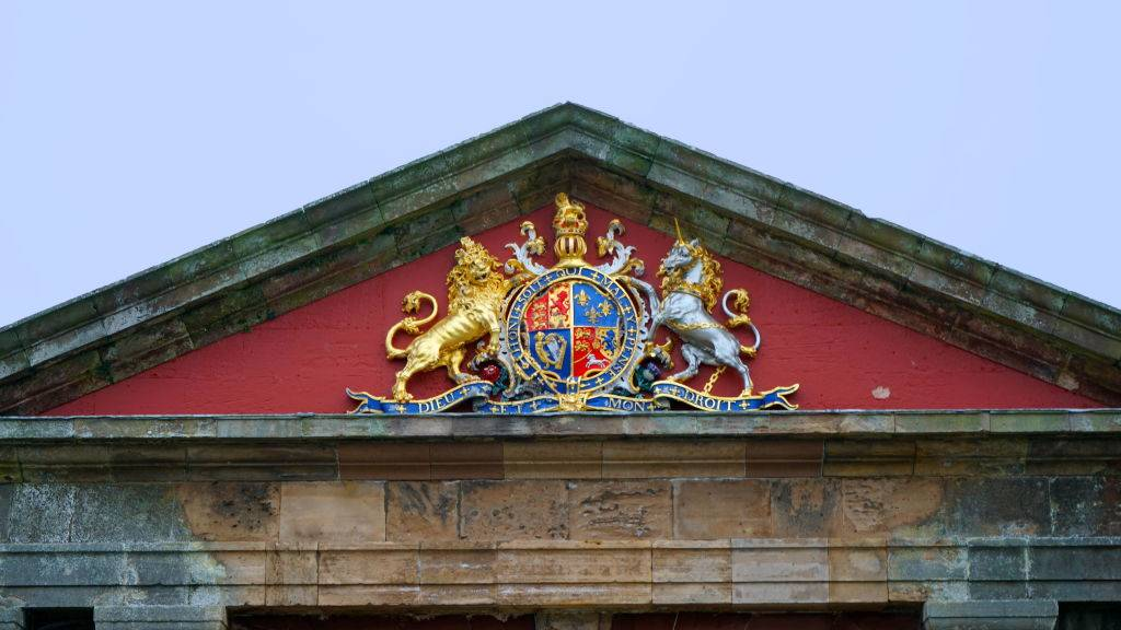 Royal Crest above the entrance to Fort George; 18th-century fortress, north-east of Inverness in Scotlan