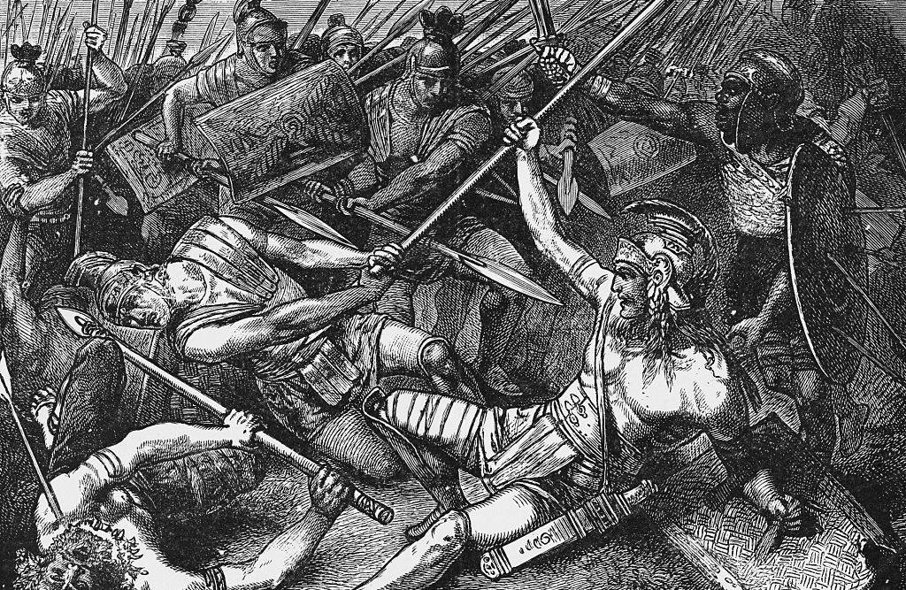 Drawing of a battle