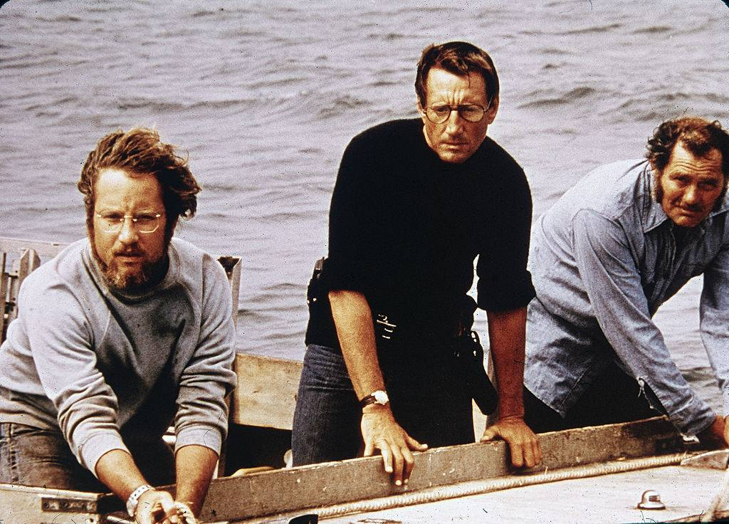 richard dreyfuss, roy scheider, and robert shaw on a boat in jaws