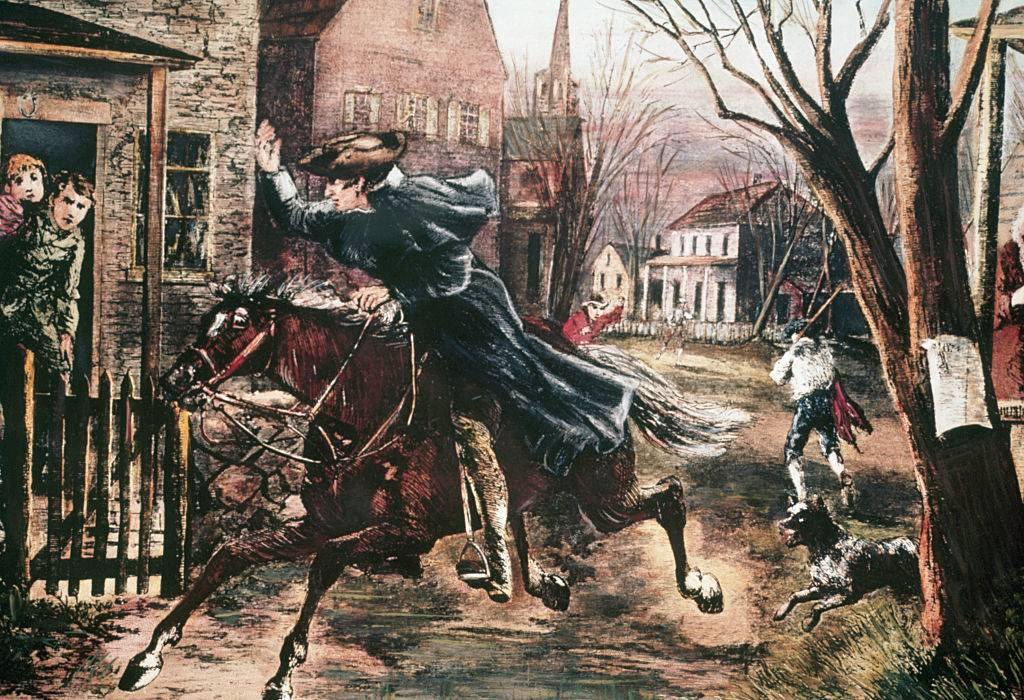 paul revere riding a horse through the streets of Boston