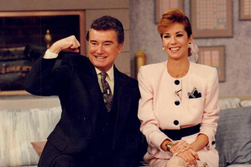 Regis Philbin and Kathie Lee Gifford sit on the set of