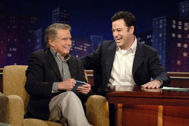 Regis Philbin talks to Host Jimmy Kimmel on the