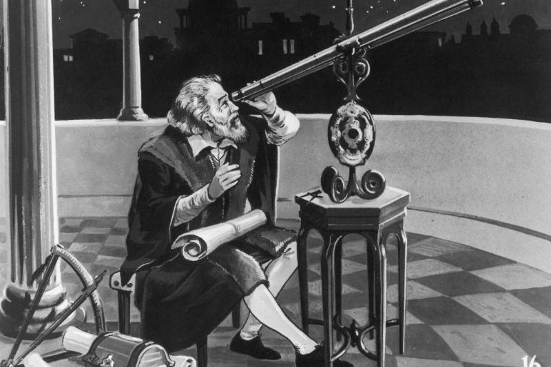 Galileo with a telescope