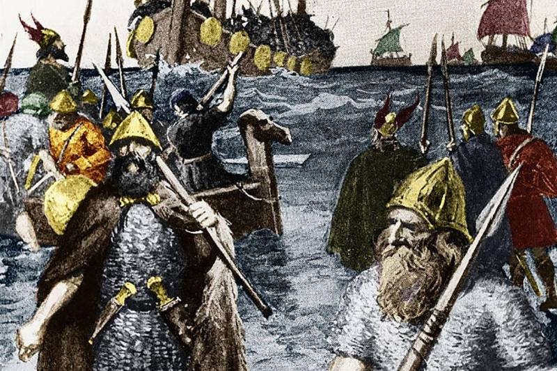 Vikings leaving the ships