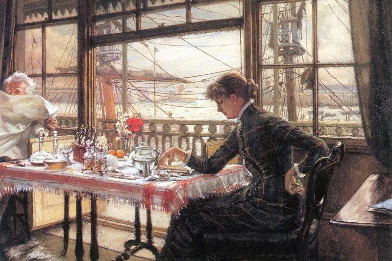 A painting displays a young woman drinking tea above a harbor.