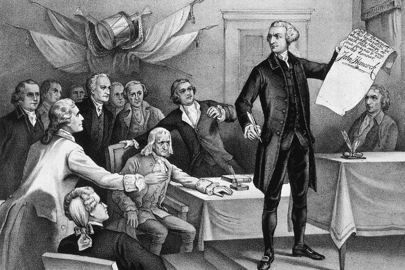 John Hancock holds up a Declaration during the First Continental Congress.