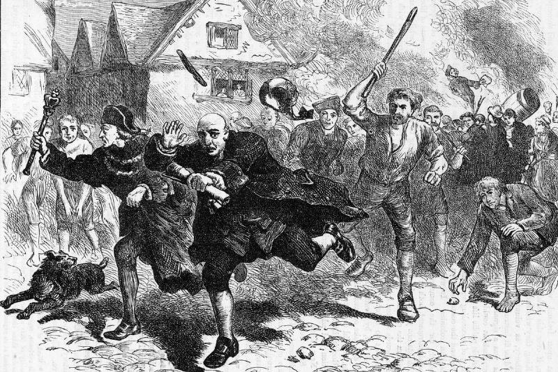 Boston colonists chase the governor of Massachusetts in response to the Stamp Tax.