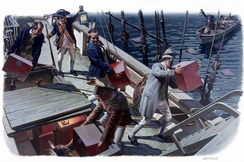 A painting depicts the Sons of Liberty dumping tea in disguise.