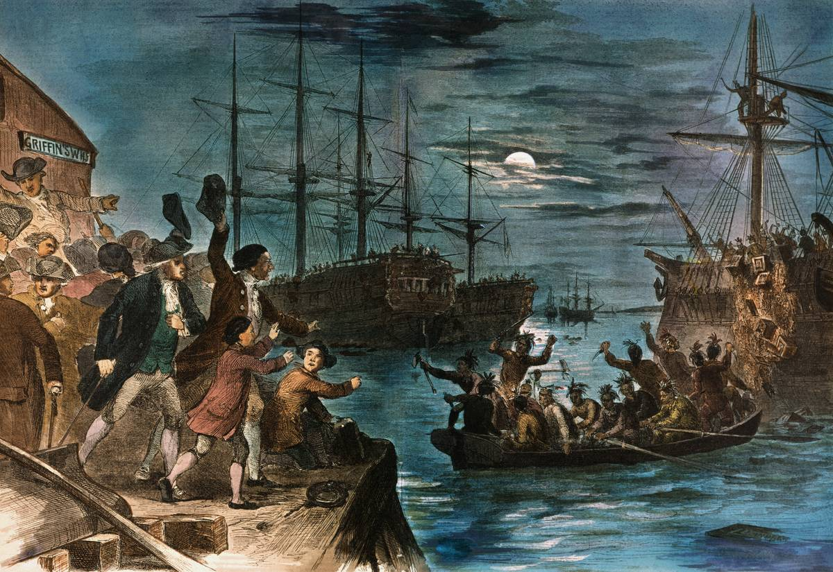 A painting shows colonists waving at the Sons of Liberty during the Boston Tea Party.