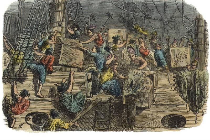 A vintage illustration shows members of the Boston Tea Party destroying tea crates.