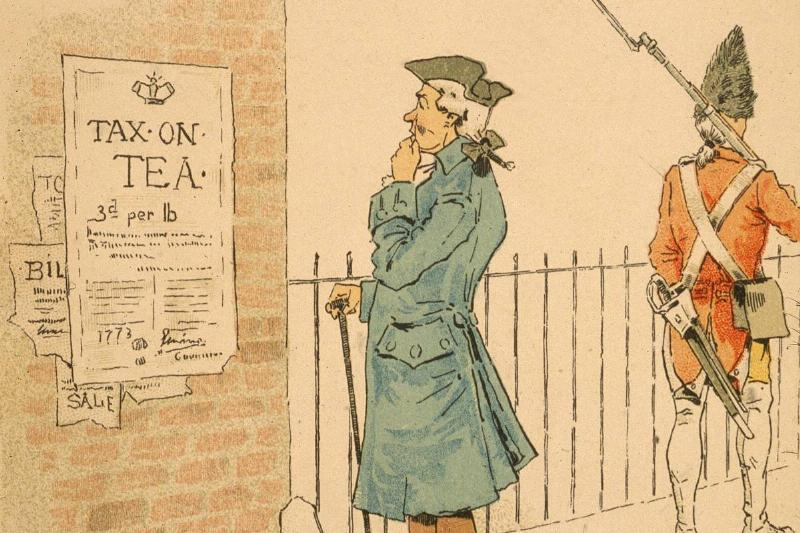 An illustration shows an American colonist reading the royal proclamation of a tax on tea.