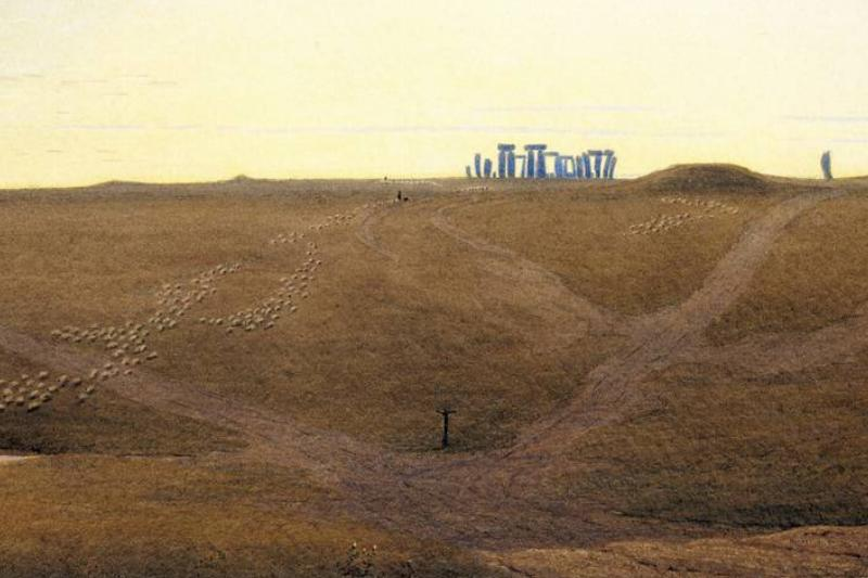 An 1840 watercolor piece depicts Stonehenge from afar.